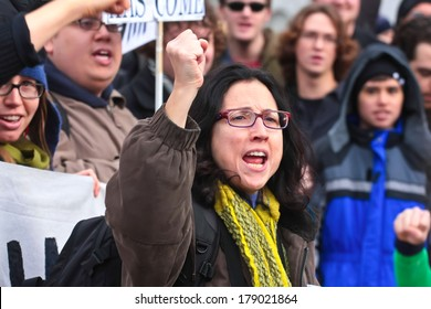 NEW YORK CITY, USA - DECEMBER 17 2011: Occupy Wall Street, protesting financial malfeasance, marked its 90 day anniversary with marches in Manhattan. Addressing the troops prior to marching