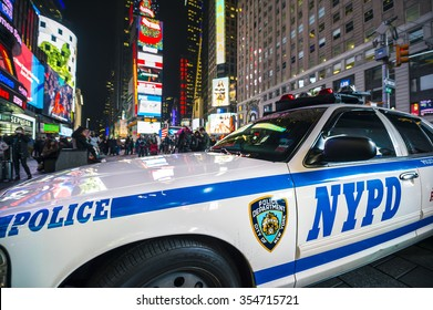 NEW YORK CITY, USA - DECEMBER 22, 2015: NYPD police car stands parked in Times Square as a security precaution in the lead-up to New Year's Eve.