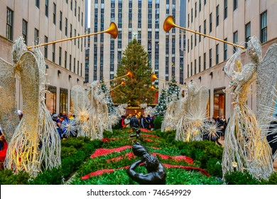 NEW YORK CITY, USA - DECEMBER 30, 2015 - Colorful Christmas decorations in Rockefeller Center.