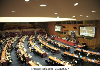 NEW YORK CITY, USA, FEB 5, 2016: United nation council meeting session at the UN headquarters, NYC