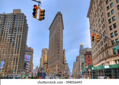 NEW YORK CITY, USA, FEB 6: colorful HDR image of the Flatiron Building and its surrounding in NYC, NY, USA, Feb 6, 2016