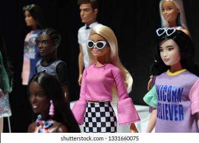 New York City, New York USA - February 18, 2019: Toy Fair New York Barbie Dolls on display