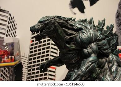 New York City, New York USA - February 18, 2019: Toy Fair New York Bandai figures on display for Godzilla