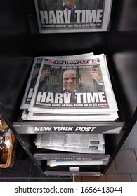 """New York City, New York / USA - February 25 2020: Front page of the New York Post with the words, """"Harv Time"""" referring to the hard time behind bars Harvey Weinstein faces after the guilty verdicts."""