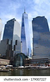 NEW YORK CITY, USA - February 23, 2014: Construction continues on One World Trade Center as the landmark office tower nears completion in Lower Manhattan