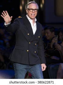 New York City, USA - February 15, 2016: Designer Tommy Hilfiger walks the runway during the Tommy Hilfiger Women's show as a part of Fall 2016 New York Fashion Week at Park Avenue Armory
