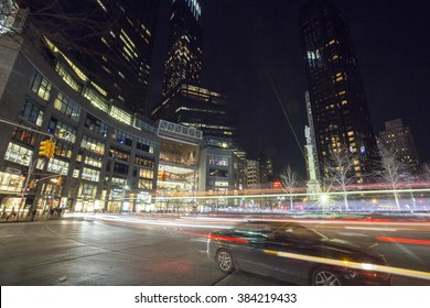 New York City, U.S.A - February 20, 2016: Columbus circle in New York City at night time.