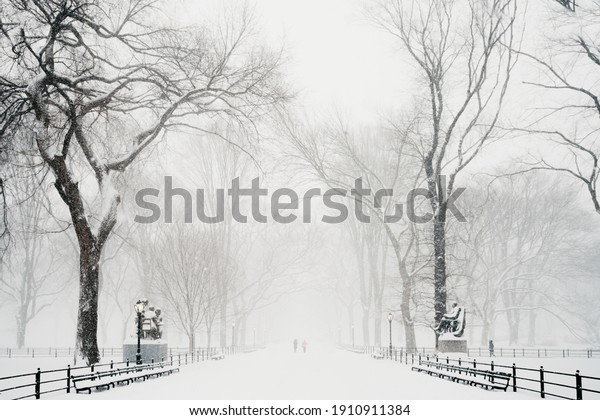 New York City, New York USA - February 6 2021: Central Park snow. Historic architecture in New York City Central Park. Beautiful bow bridge in Manhattan Central Park with snow flakes. Winter in NYC.