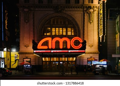 New York City, USA - Jan. 5, 2017: View of AMC Empire 25 theater on 42nd Street, in Manhattan, at night