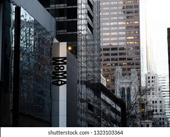NEW YORK CITY, USA - JAN 11th, 2019: The Museum of Modern Art, MoMA in Manhattan, NYC. Facade, street view, The MoMA was founded in 1929.
