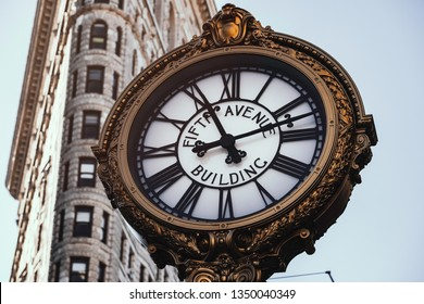 New York City - USA - JAN 30 2019: Fifth Avenue Building Clock in Flatiron District at early morning