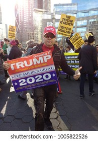 New York City, New York / USA - January 20 2018: A Trump supporter at the New York City Women's March.