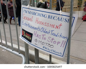 New York City, New York / USA - January 20 2018: I'm Marching Because Sexual Harassment, Entertainment's Oldest Tradition, Has To Stop!! #METOO #WhyIMarch