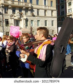 New York City, New York / USA - January 20 2018: Musicians play while marching in the New York City Women`s March.