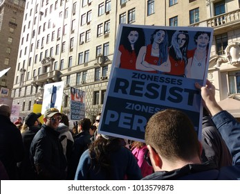New York City, New York / USA - January 20 2018: One of the many signs held high during the NYC Women's March 2018.