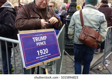 "New York City, New York / USA - January 20 2018: This sign plays on Trump's 2016 presidential campaign slogan, ""Make America Great Again!"" (MAGA) saying, ""Trump, Pence 1920 Make America Vote Again""."