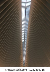 New York City / USA - January 23, 2017: The ceiling of the World Trade Center Memorial Oculus transportation hub in lower manhttan.
