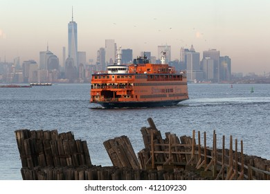 New York City, New York, USA; January 31, 2016; The Staten Island ferry pictured with New York skyline as it docks in Staten Island.
