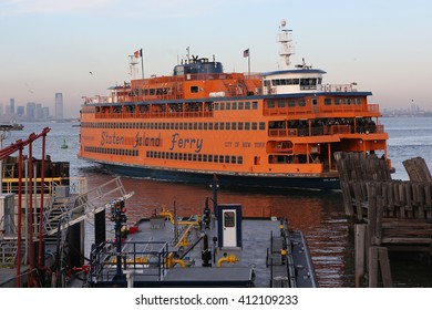 New York City, New York, USA; January 31, 2016; The Staten Island ferry pictured as it docks in Staten Island.