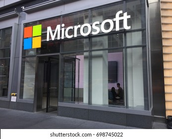 NEW YORK CITY, USA - January 2017: Microsoft headquarters Manhattan, a multinational technology company electronics, computers, xbox, linkedin, hololens, minecraft, Satya Nadella, ar, vr NASDAQ: MSFT