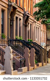 New York, City / USA - JUL 10 2018: Old Buildings of Hicks Street in Brooklyn Heights Neighborhood New York City