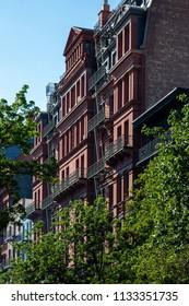 New York, City / USA - JUL 10 2018: Old Buildings of  Brooklyn Heights Neighborhood in New York City