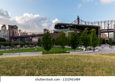 New York City / USA - JUL 27 2018: The Bloomberg Center buiding on Roosevelt Island in a clear afternnon