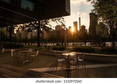 New York City / USA - JUL 27 2018: The Bloomberg Center buiding on Roosevelt Island at sunset
