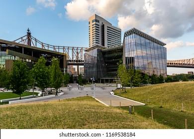 New York City / USA - JUL 27 2018: The Tata Innovation Center buiding entrance view on Roosevelt Island