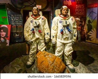 NEW YORK CITY, USA – JULE 13, 2013: Neil Armstrong and Buzz Aldrin wax figures at Madame Tussauds wax museum in Times Square in New York.