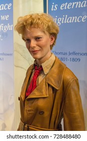 NEW YORK CITY, USA – JULE 13, 2013: Amelia Earhart wax figure at Madame Tussauds wax museum in Times Square in New York.