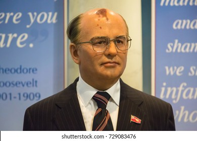 NEW YORK CITY, USA – JULE 13, 2013: Mikhail Gorbachev wax figure at Madame Tussauds wax museum in Times Square in New York.