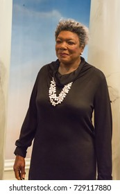 NEW YORK CITY, USA – JULE 13, 2013: Maya Angelou wax figure at Madame Tussauds wax museum in Times Square in New York.