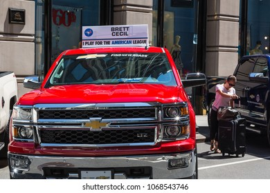 NEW YORK CITY, USA – JULY 16, 2013: Chevrolet cars standing along West 40th street prepared for the MLB stars for the 2013 All-Star Red Carpet Show event on July 16, 2013 in New York city.