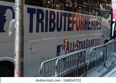 """NEW YORK CITY, USA – JULY 16, 2013: Preparing for """"MLB All Star Game 2013"""" on the 6th Avenue of New York for a show featuring winners of the national baseball league and veterans and baseball heroes."""
