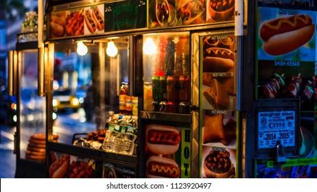 New York City, New York / USA - July 26, 2013: Food cart in midtown Manhattan.
