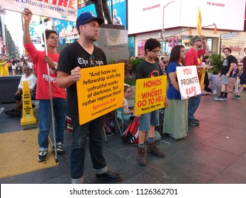 New York City, New York / USA - July 02 2018:Preaching in Times Square.