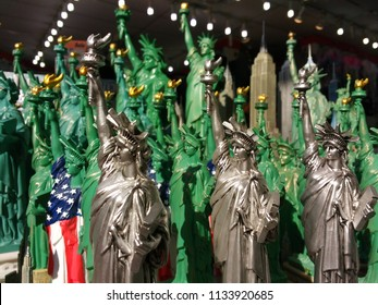 New York City, New York / USA - July 13 2018: Statue of Liberty souvenirs in a gift shop.
