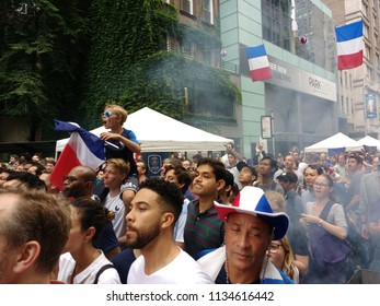 New York City, New York / USA - July 15 2018: Fans of France before the World Cup Final at the French InstituteAlliance Français Bastille Day Street Fair.
