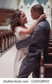 NEW YORK CITY, USA - July 10, 2018: african american just married couple in the church