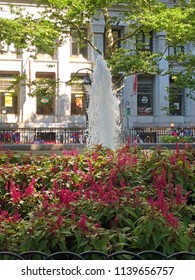 New York City, New York, USA: July 18, 2018: Fountain in NYC Park