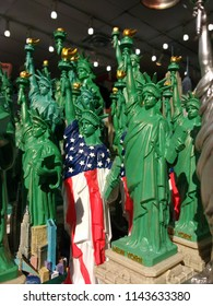 New York City, New York / USA - July 13 2018: Statue of Liberty souvenirs for sale in a gift shop.