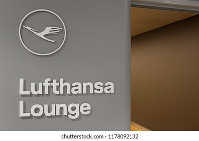 NEW YORK CITY, USA – JULY 18 2018: Lufthansa corporate logo on display in the airline's lounge complex at New York JFK Airport, where business class passengers and frequent flyers can relax.