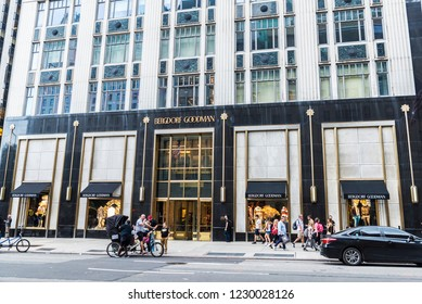 New York City, USA - July 28, 2018: Bergdorf Goodman, luxury department store, in Fifth Avenue (5th Avenue) with people around in Manhattan in New York City, USA