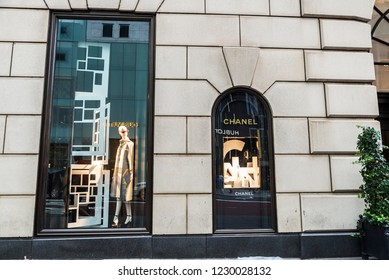 New York City, USA - July 28, 2018: Display of a luxury brands clothing store in Fifth Avenue (5th Avenue) in Manhattan in New York City, USA