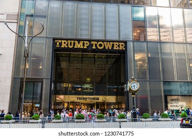 New York City, USA - July 28, 2018: Entrance to Trump Tower in Fifth Avenue (5th Avenue) with people around in Manhattan in New York City, USA