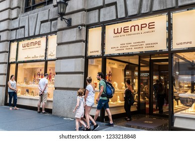 New York City, USA - July 28, 2018: Display of a luxury Wempe jewelry in Fifth Avenue (5th Avenue) with people around in Manhattan in New York City, USA
