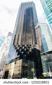 New York City, USA - July 28, 2018: Facade of Trump Tower in Fifth Avenue (5th Avenue) in Manhattan in New York City, USA