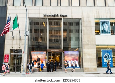 New York City, USA - July 28, 2018: Ermenegildo Zegna, luxury clothing store, in Fifth Avenue (5th Avenue) with people around in Manhattan in New York City, USA