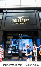 New York City, USA - July 28, 2018: Hollister California, luxury clothing store, in Fifth Avenue (5th Avenue) with people around in Manhattan in New York City, USA